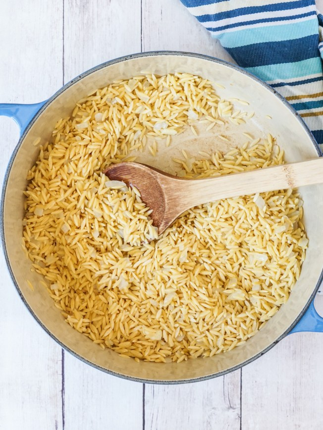 Toasting the orzo in a pot