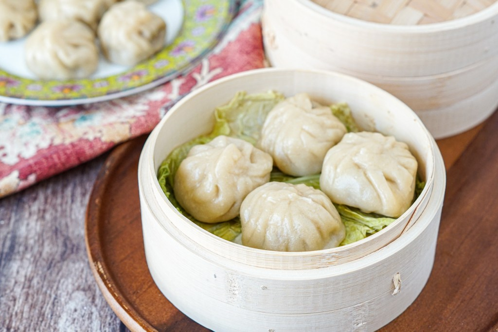 Meat-Filled Momos in a steamer