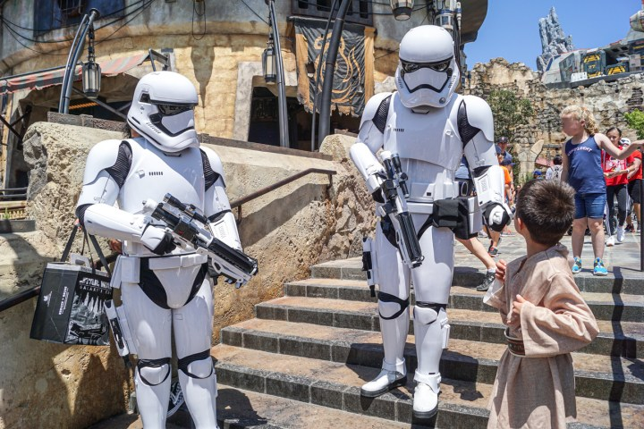 Talking to 2 stormtroopers on the stairs