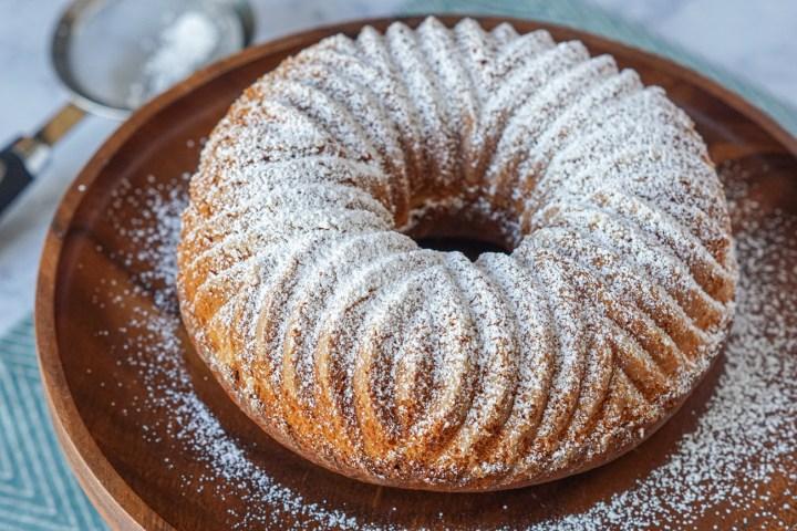 Ciambella Del Mattino (Morning Bundt Cake) on a platter