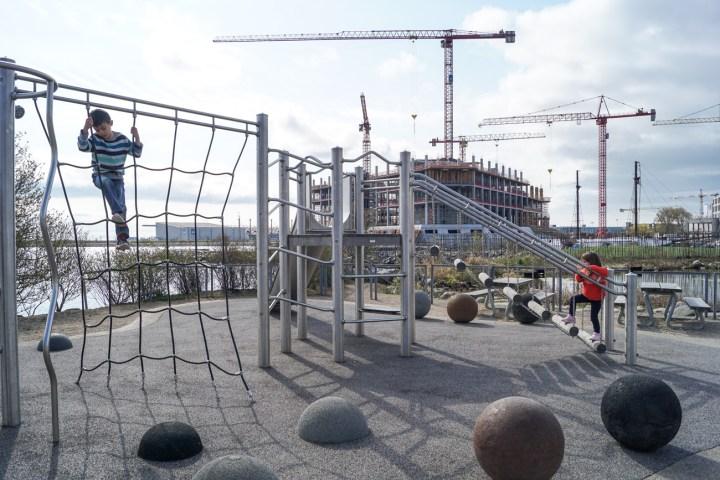 Metal playground outside Den Blå Planet