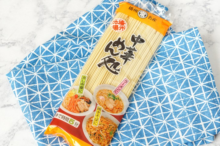 Chinese Noodles from Umai Crate Box Review in a clear package over a blue and white towel.