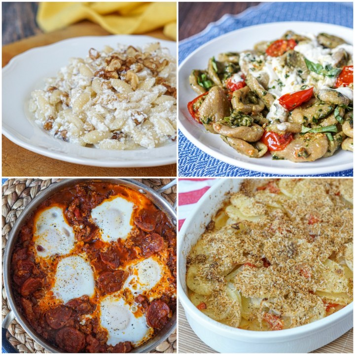 Other dishes from Food of the Italian South: Carrati con Ricotta e Noci (Carrati with Ricotta and Walnuts); Orecchiette con Burrata, Pomodorini, e Pesto (Orecchiette with Burrata, Tomatoes, and Almond Pesto); Susciello (Eggs with Salami and Tomato); and Patate Raganate (Crispy Potatoes with Onions and Parmigiano-Reggiano).