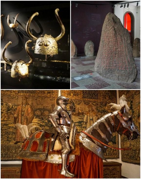 Helmets, stone, and knight inside Nationalmuseet