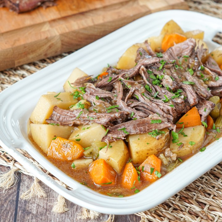 Slow Cooker Chuck Roast on a platter