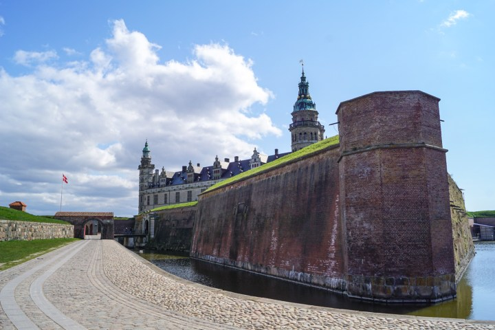 Walkway leading up the Kronborg Slot surrounded by a moat.