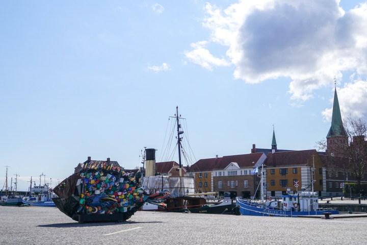 Large sculpture of a fish in Helsingør.