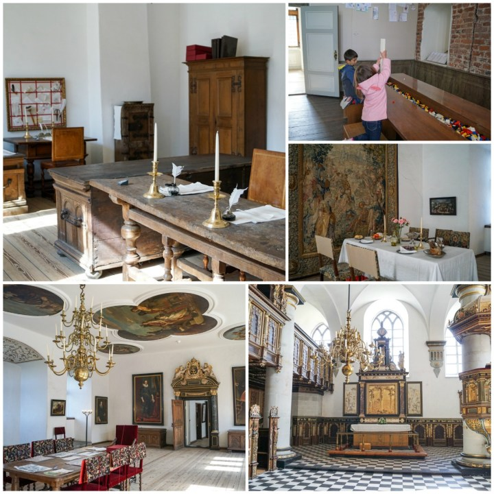 Different rooms inside Kronborg Slot- chapel, desks, and dining area with a chandelier.