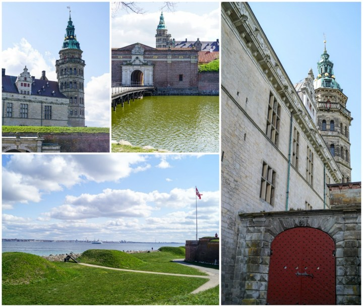 Outside views of Kronborg Slot with the water in the distance and entrance to the castle.
