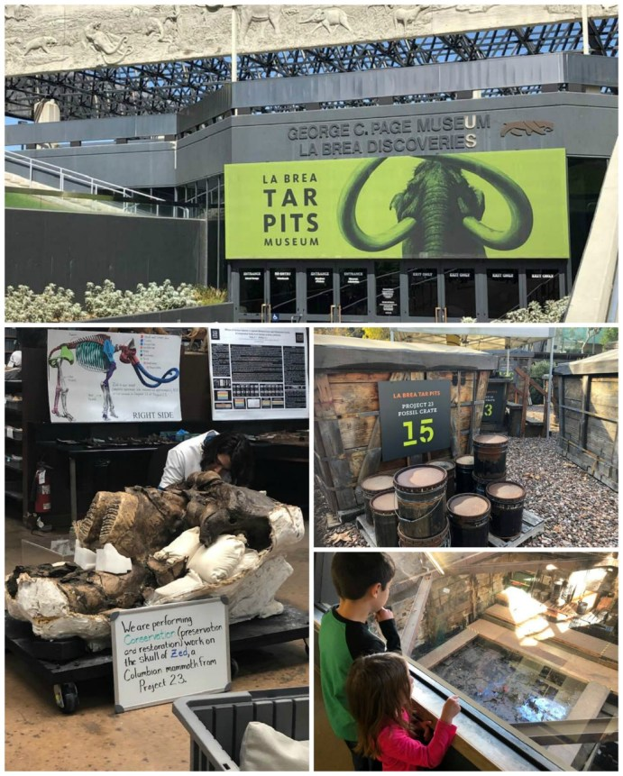 Four photo collage of La Brea Tar Pits with digging sites and entrance to the museum.