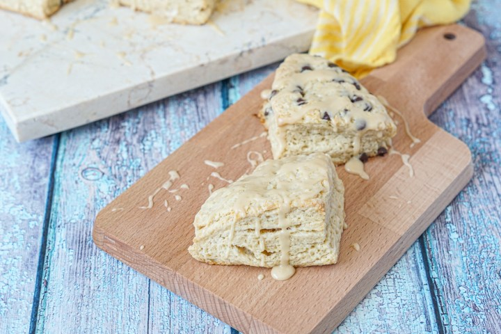Irish Cream Scones with optional chocolate chips on a wooden board.