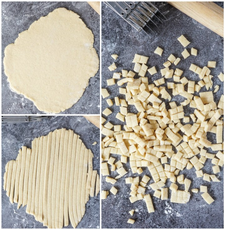 Forming of Chin Chin (Fried Dough Snacks)- rolling the dough in a sheet, cutting into thin strips, then cutting into small squares