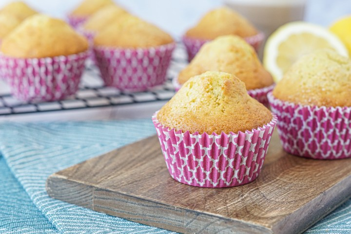 Magdalenas (Spanish Muffins) with purple muffin liners.