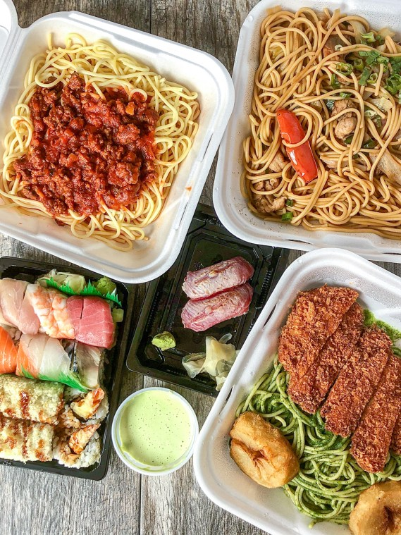 Spaghetti with meat sauce, Tallarin Saltado, Katsu over a bed of green spaghetti, and sushi from Kotosh.