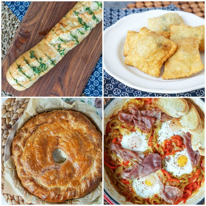 Other dishes from Rustic French Cooking Made Easy: Préfou (Parsley Garlic Bread), Barbajuans (Fried Ravioli), Bisteu (Bacon, Onion and Potato Pie), and Piperade aux Oeufs (Onion, Pepper, Tomato and Egg Skillet).