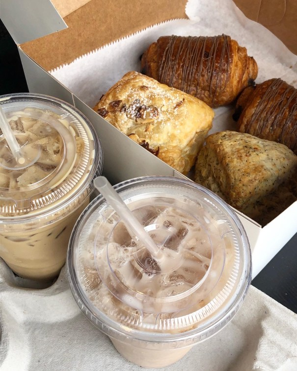 Chai Latte, Almond Puff, Basil Parmesan Scone, and Pain au Chocolat from The Trim Tart.