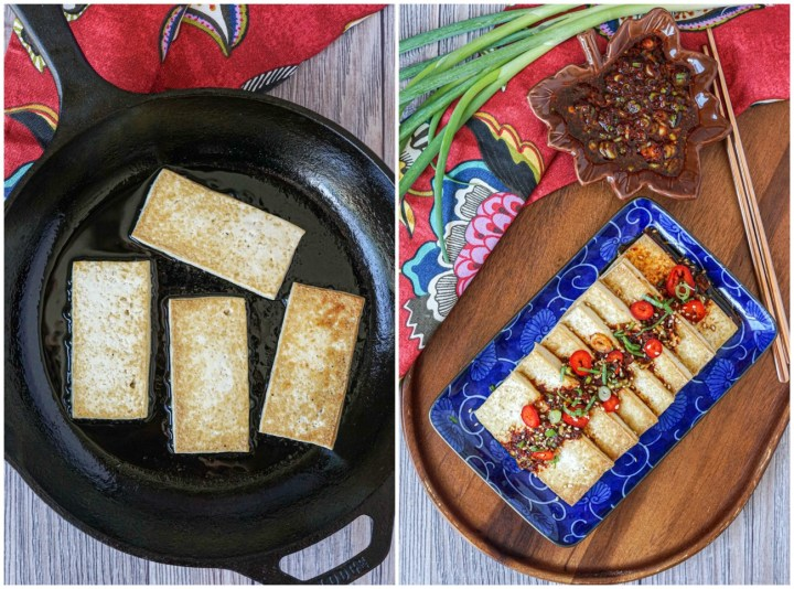 Frying the Tofu in the cast iron skillet, then the Dubu Buchim (Panfried Tofu with Soy Chili Sauce) assembled on a blue rectangular plate next to a soy chili sauce in a brown leaf bowl, green onions, and copper chopsticks.