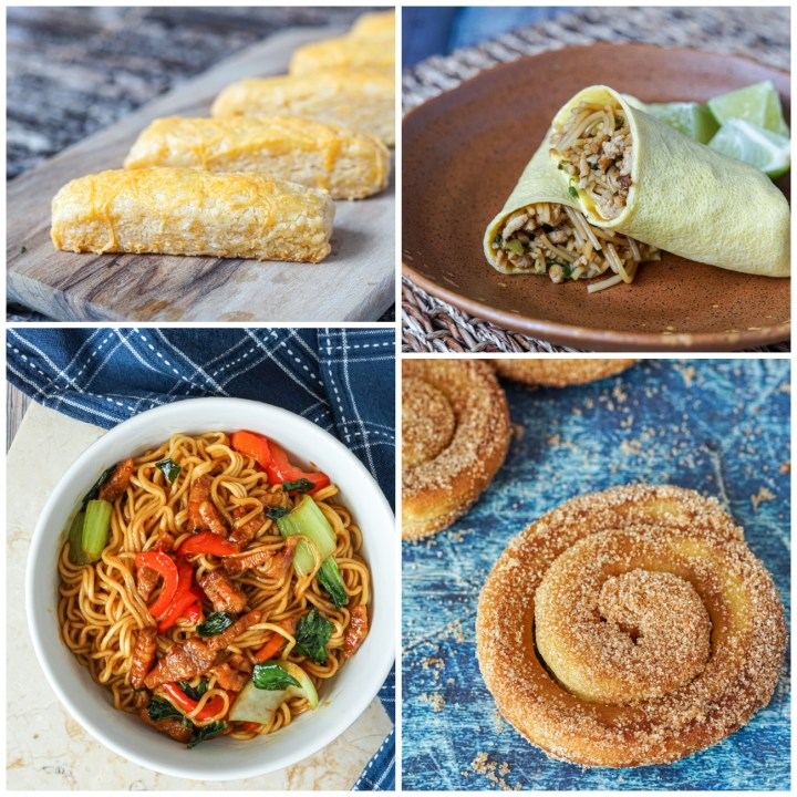Other dishes from Coconut & Sambal- Kue Keju (Cheese Biscuits), Sose Solo (Egg Crepe Rolls), Indomie Dengan Babi Tore (Crispy Pork Belly Instant Noodles), and Kue Perut Ayam (Indonesian Cinnamon Doughnuts).