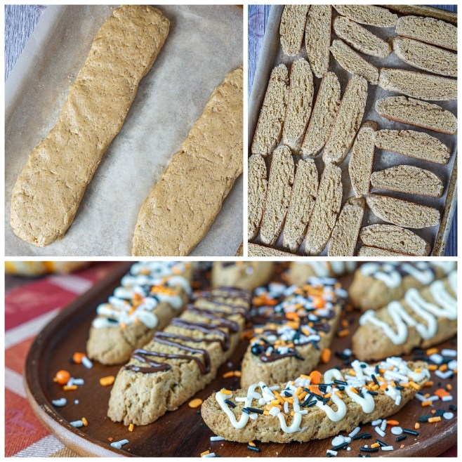 Forming the dough into two logs on a parchment lined baking sheet, slices of biscotti, and chocolate/sprinkle covered biscotti.