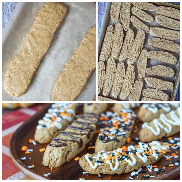 Forming the dough into two logs on a parchment lined baking sheet, slices of biscotti on the baking sheet, and chocolate/sprinkle covered biscotti on a wooden board.