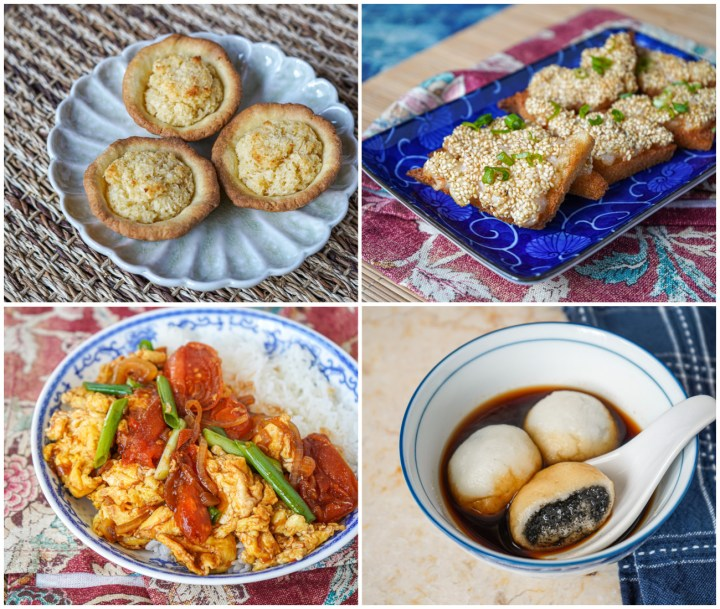 Other Dishes from Hong Kong Local- Coconut Tarts, Prawn Toasts, Tomato and Egg Stir-Fry, and Tong Yuen (Glutinous Rice Balls with Black Sesame).