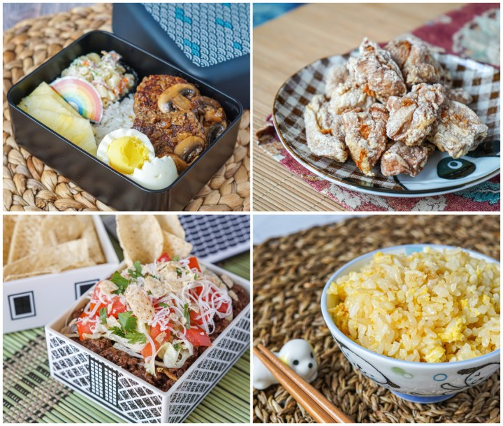 Other dishes from Ultimate Bento- Loco Moco Hamburg Steak Bento, Karaage Fried Chicken, Taco Rice Bento, and Egg Fried Rice.