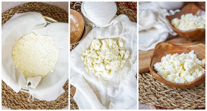Collage of draining the Chaana (Fresh Unripened Cheese) in a cheesecloth, then serving in two brown bowls.