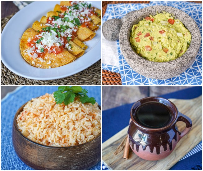 Other dishes from The Mexican Home Kitchen: Entomatadas, Guacamole, Arroz Rojo (Red Rice), and Café de Olla (Mexican Spiced Coffee).
