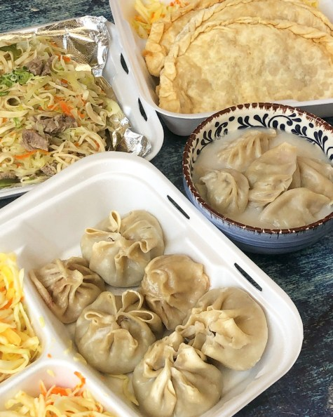 Dumplings, flatbread, and noodles from Nadima's Mongolian Restaurant.