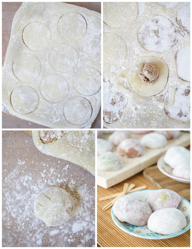 Forming the Mochi Ice Cream- cutting out circles, filling with ice cream, and sealing.