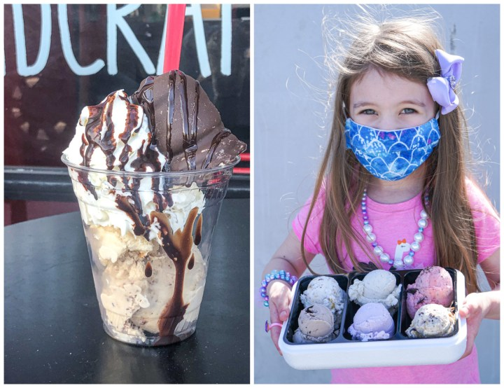 Two photo collage- Flødeboller Sundae and girl holding container with six scoops of ice cream.