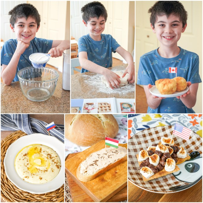 Collage of boy making fried bannock bread and photos of Kasha, Körözött, and S'mores.