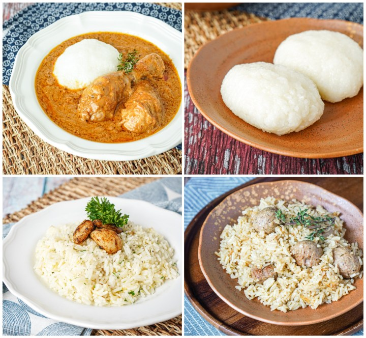Groundnut Stew My Way, Omo Tuo (Rice Balls), Meyer Lemon Rice with Candied Garlic, and Sausage Pilau.