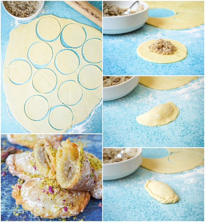 Five photo collage of the rolling of Almond Sanbuseh dough, adding filling, and folding over to seal.