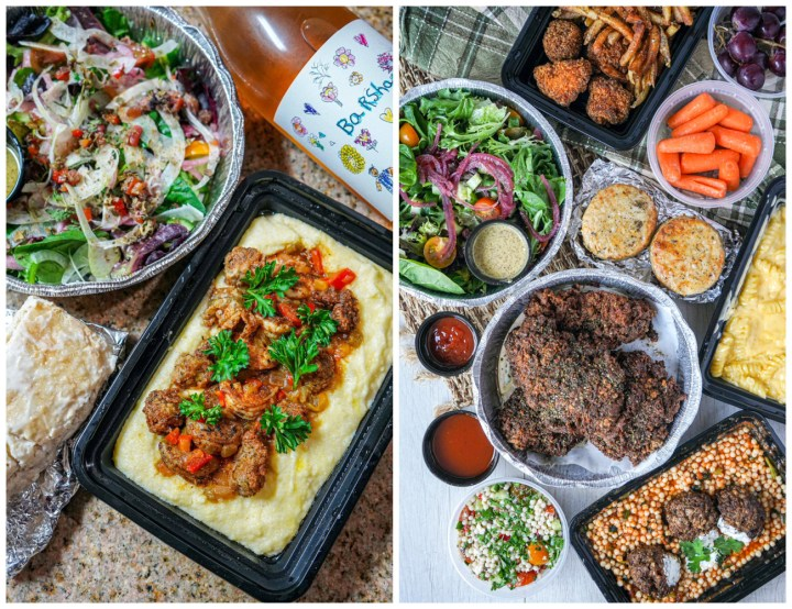 Two photo collage of takeout from Barsha- shrimp n grits, salad, wine, chicken, biscuits, lamb meatballs, and Mac and cheese.