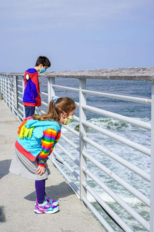 Boy and girl on the Hermosa Beach Pier looking at the waves.