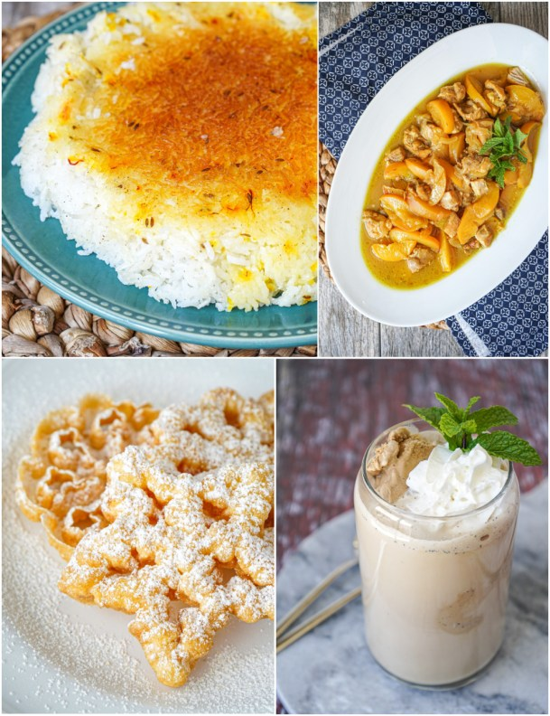 Saffron-Flavored Steamed Rice with Golden Crust (Chelow), Peach Khoresh (Khoresh-e Hulu), Window Cookies (Nan-e Panjerehi), and Iced Coffee (Café Glacé).