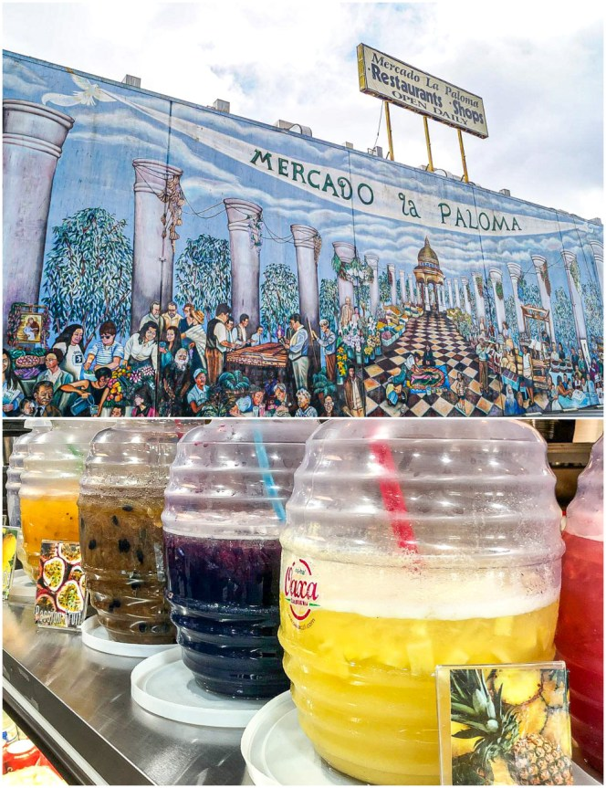 Two photo collage with Mercado la Paloma market mural on top and jars of Agua Fresca on bottom.