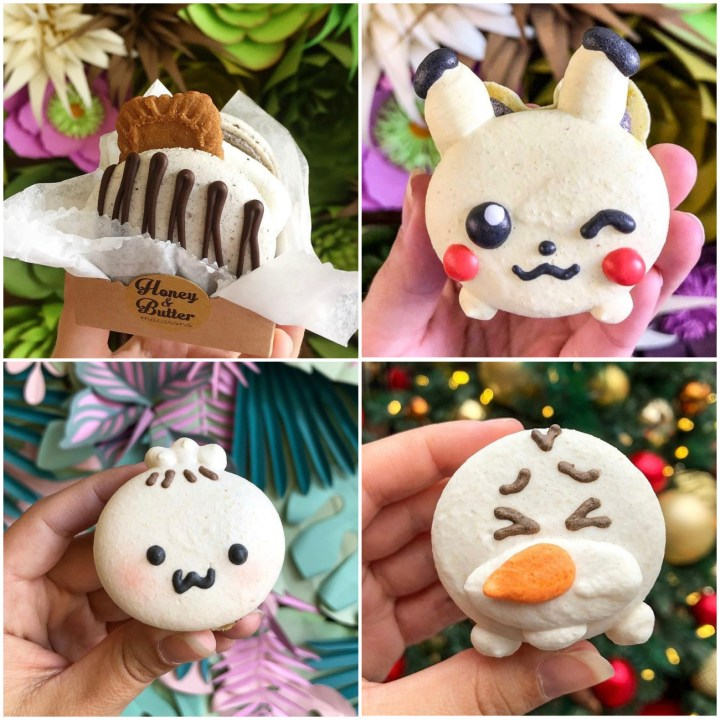 S'mores, Pikachu, Bao, and Olaf macarons from Honey & Butter.
