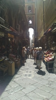 Naples street markets - this is an actual street with cars and mopeds. Have to keep on guard!!