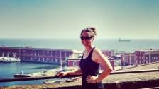 Tara on Castel Nuovo balcony in Naples over looking the harbor.