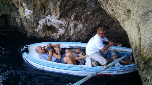 Visiting the Blue Grotto on the Island of Capri, Italy.