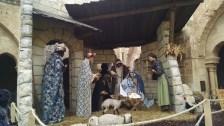 Life size Nativity in the church courtyard in Bethlehem.