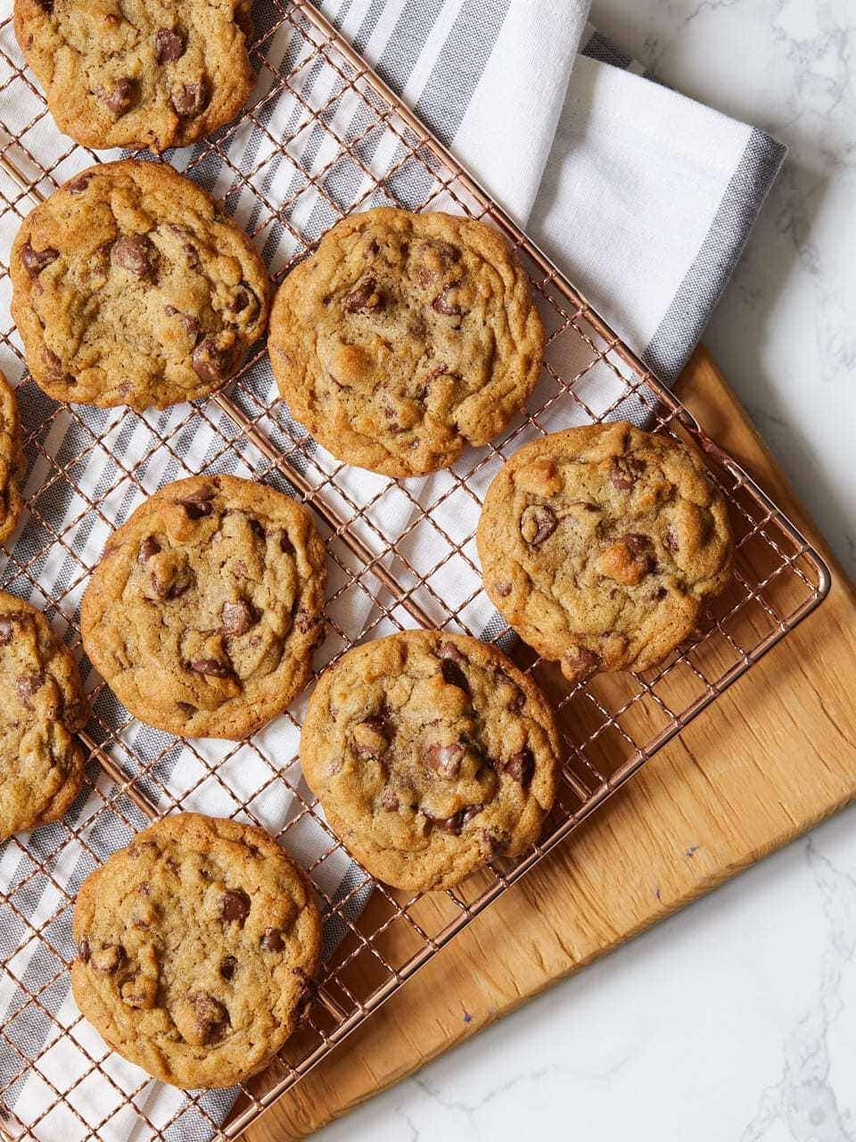The best chocolate chip cookies in the world on a rack
