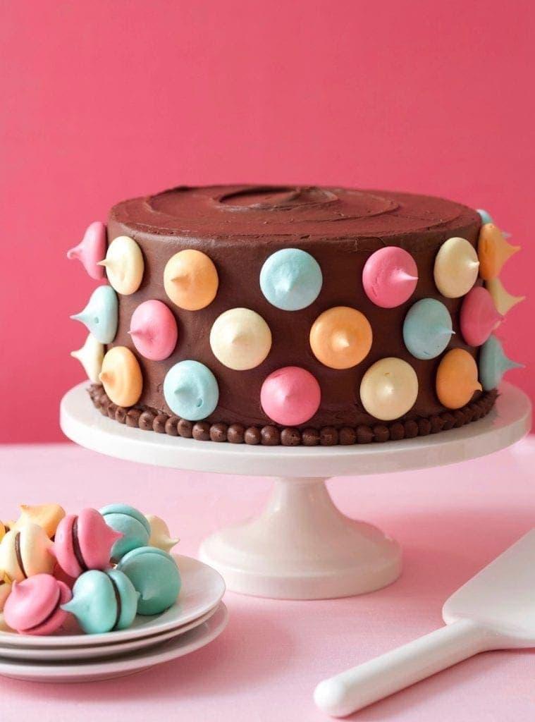Polka Dot Cake With Meringue Kisses