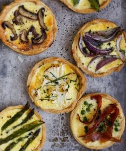 Spring Vegetable Tarts let you create any flavor combination you like. Perfect for an individual serving. Have a tart!