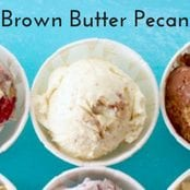 Easy homemade ice cream Brown Butter Pecan flavor with a vanilla base. No churn required just use a KitchenAid.
