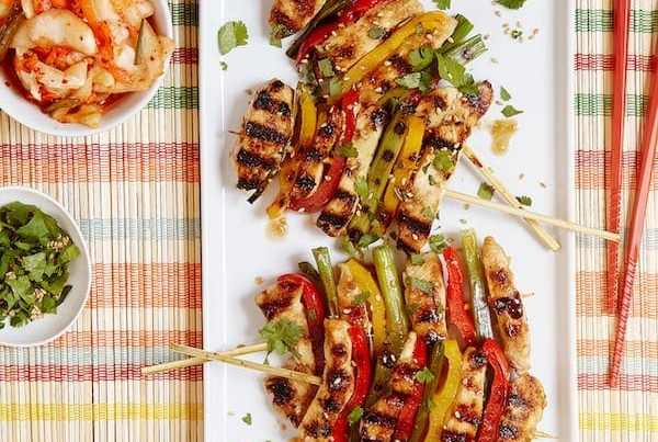 Korean BBQ Chicken Skewerswith veggies and a simple marinade