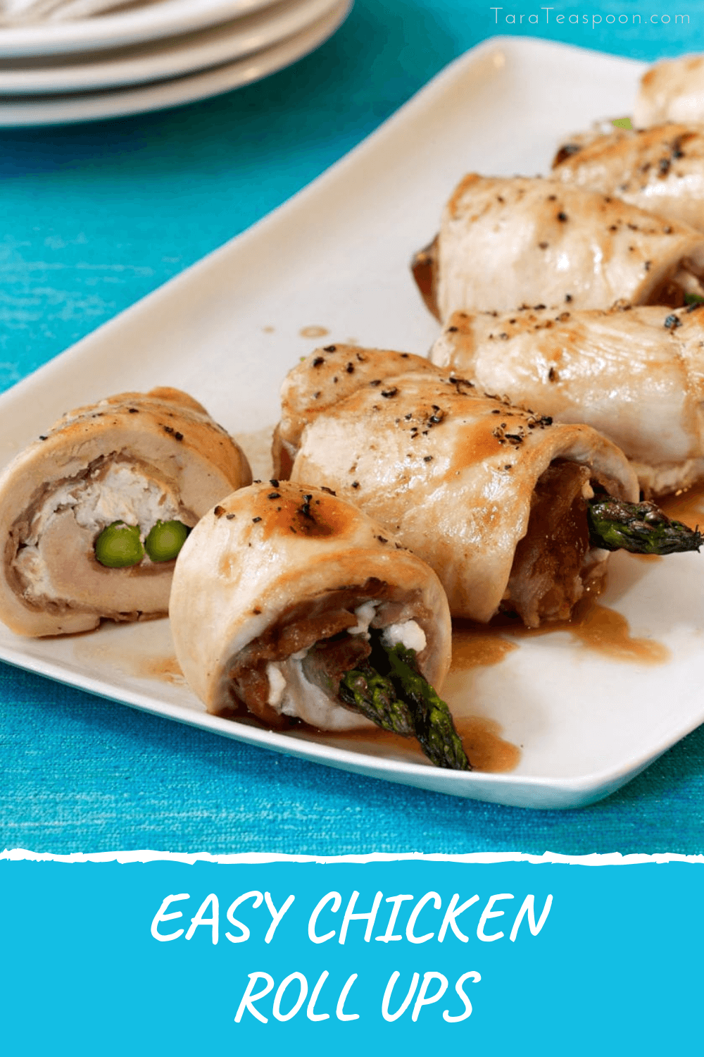 chicken and asparagus roll ups for dinner pin