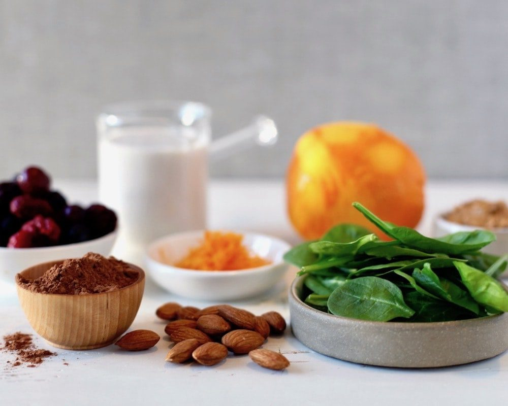 ingredients for protein powder smoothies on table